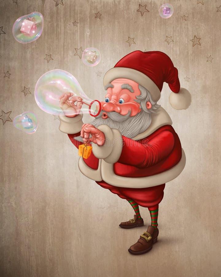 Santa Claus ed il sapone delle bolle royalty illustrazione gratis