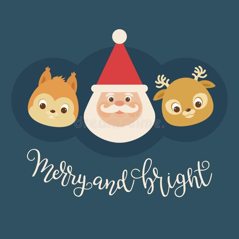 Santa Claus een eekhoorn en een hert stock illustratie