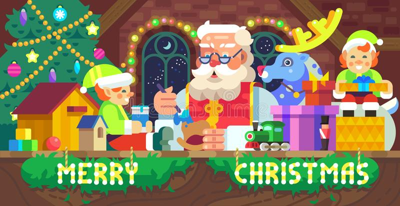 Santa Claus in een workshop vector illustratie
