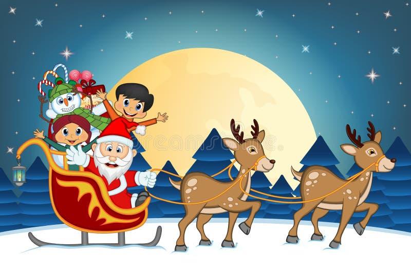 Santa Claus, el muñeco de nieve y los niños moviendo encendido el trineo con el reno y trae muchos regalos ilustración del vector
