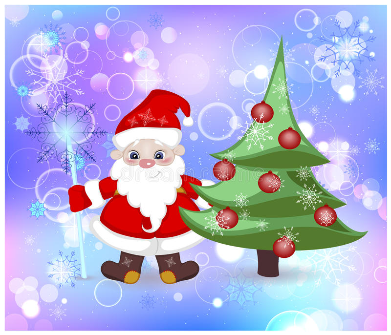 Santa Claus And Elegant Christmas Tree In The Snow Stock Vector