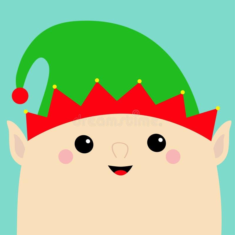 Santa Claus Elf hace frente al icono principal Sombrero verde Feliz Navidad Año Nuevo Carácter divertido del bebé del kawaii de l stock de ilustración