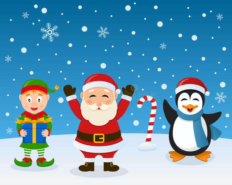 Santa Claus Elf Penguin on the Snow. A cute Christmas green elf holding a gift, Santa Claus smiling and a funny penguin greeting, in a snowy scene. Eps file royalty free illustration