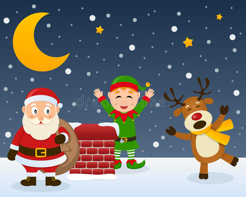 Santa Claus Elf and Reindeer on a Roof. Santa Claus holding the sack of the gifts, a cute Christmas green elf greeting and a funny reindeer laughing, in a snowy royalty free illustration