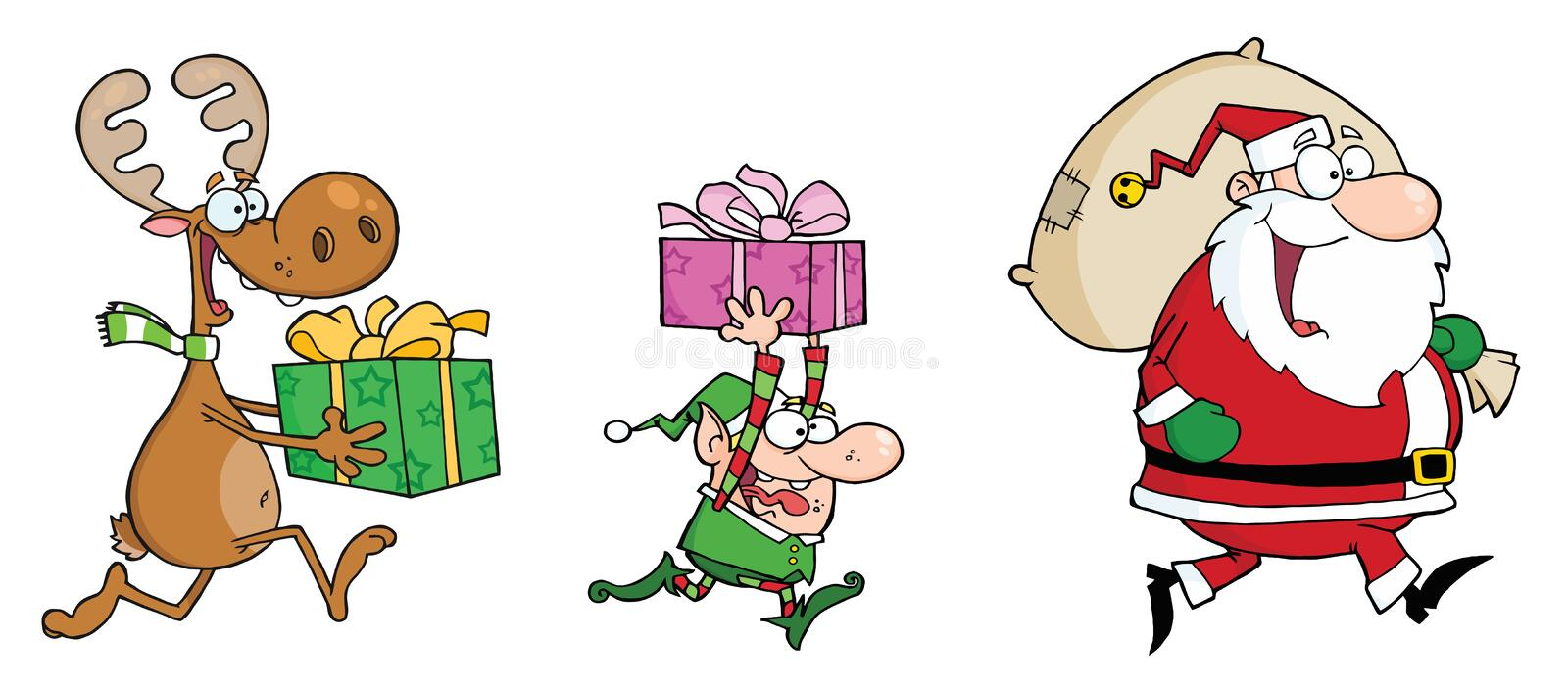 Santa claus,elf and reindeer runs with gifts vector illustration