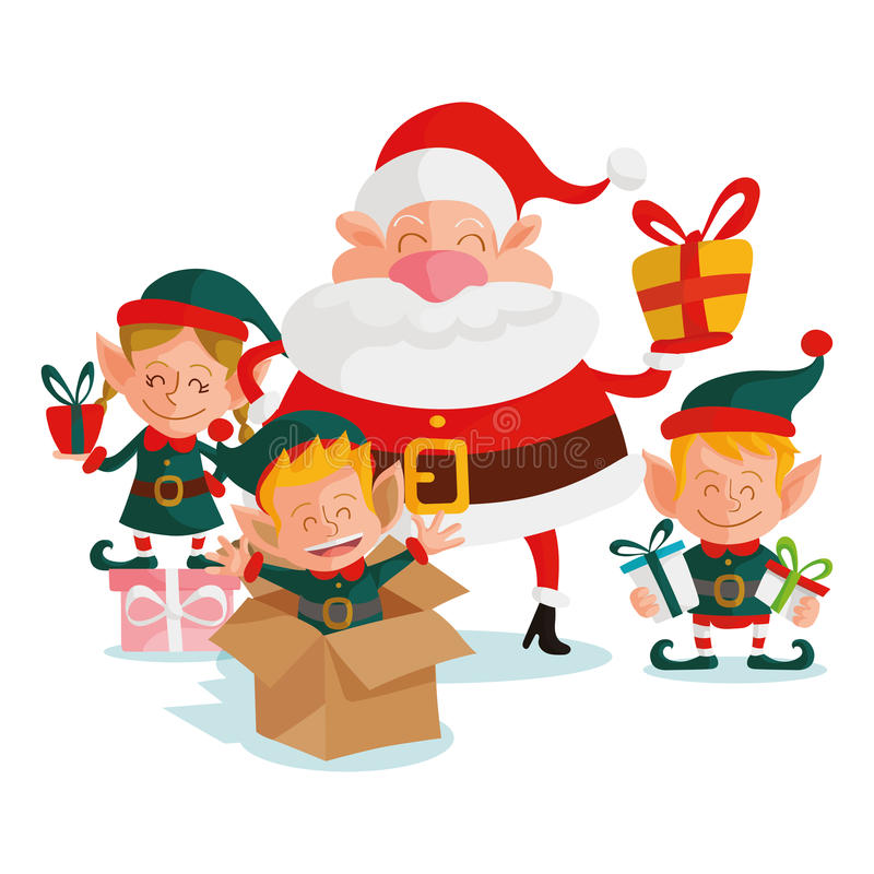 Santa Claus And Elves stock de ilustración