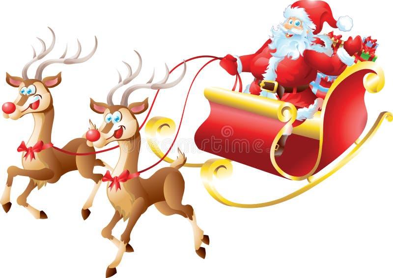 Santa Claus em seu trenó ilustração royalty free