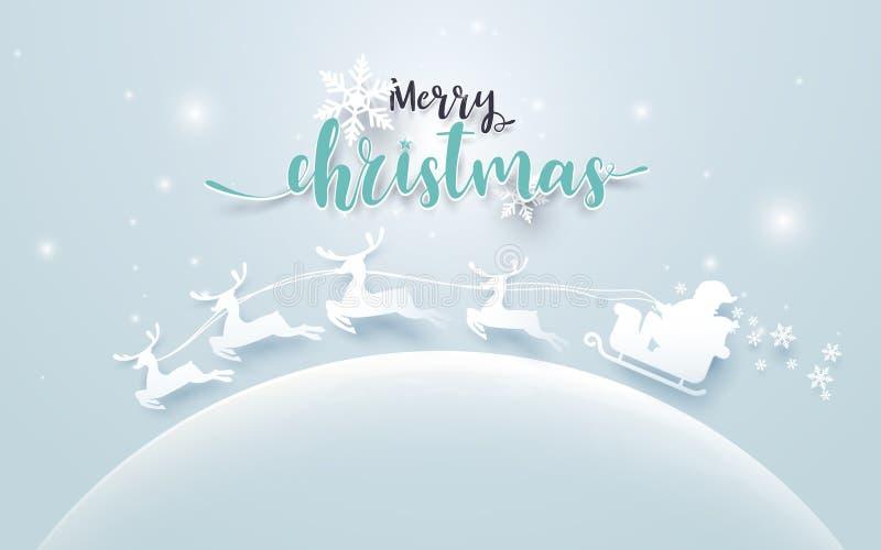 Santa Claus em um pequeno trenó e a rena na lua com Feliz Natal text no fundo azul macio estilo de papel da arte ilustração stock