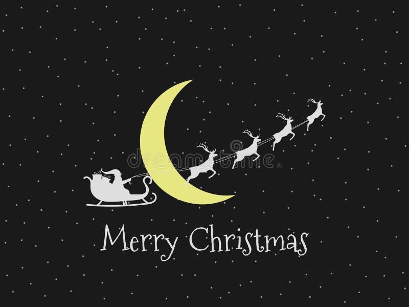Santa Claus em um trenó em um fundo da lua e das estrelas Trenó de Santa Vetor ilustração stock