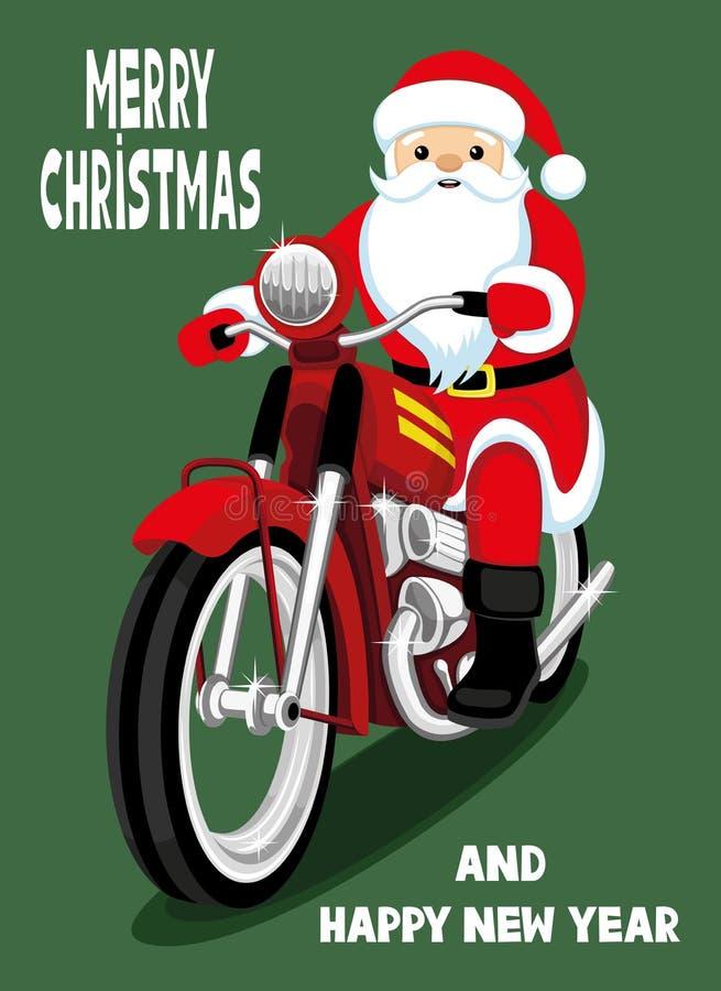Santa Claus em uma motocicleta vermelha ilustração royalty free