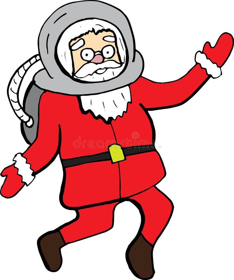 Santa Claus em uns desenhos animados do terno de espaço caráter do Natal do vetor para cartões e cópias imagens de stock