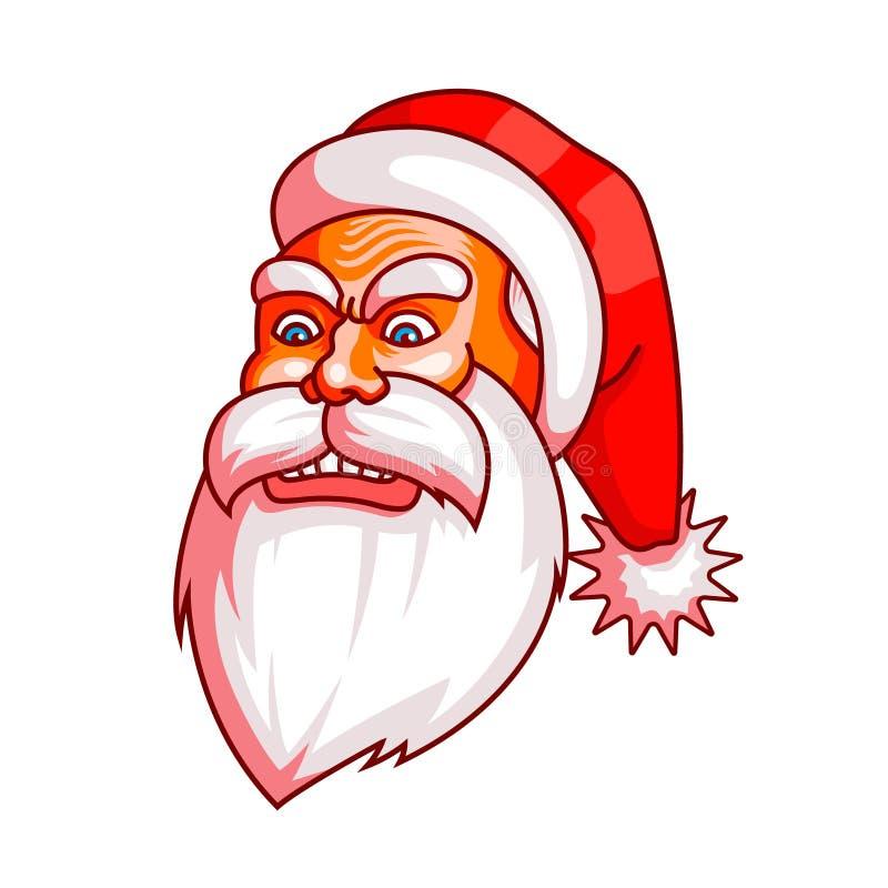 Santa Claus emocje Część boże narodzenie set Furia, zniszczenie, złość Przygotowywający dla druku royalty ilustracja