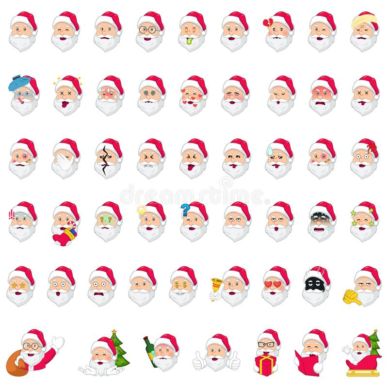 Santa Claus Emoji Icons Illustration stock abbildung
