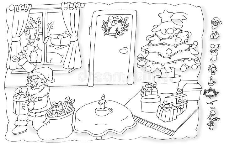 Santa Claus en de aas verfraaien, de ruggegraat die van de Kerstmisboom humoristische kinderen kleuren vector illustratie