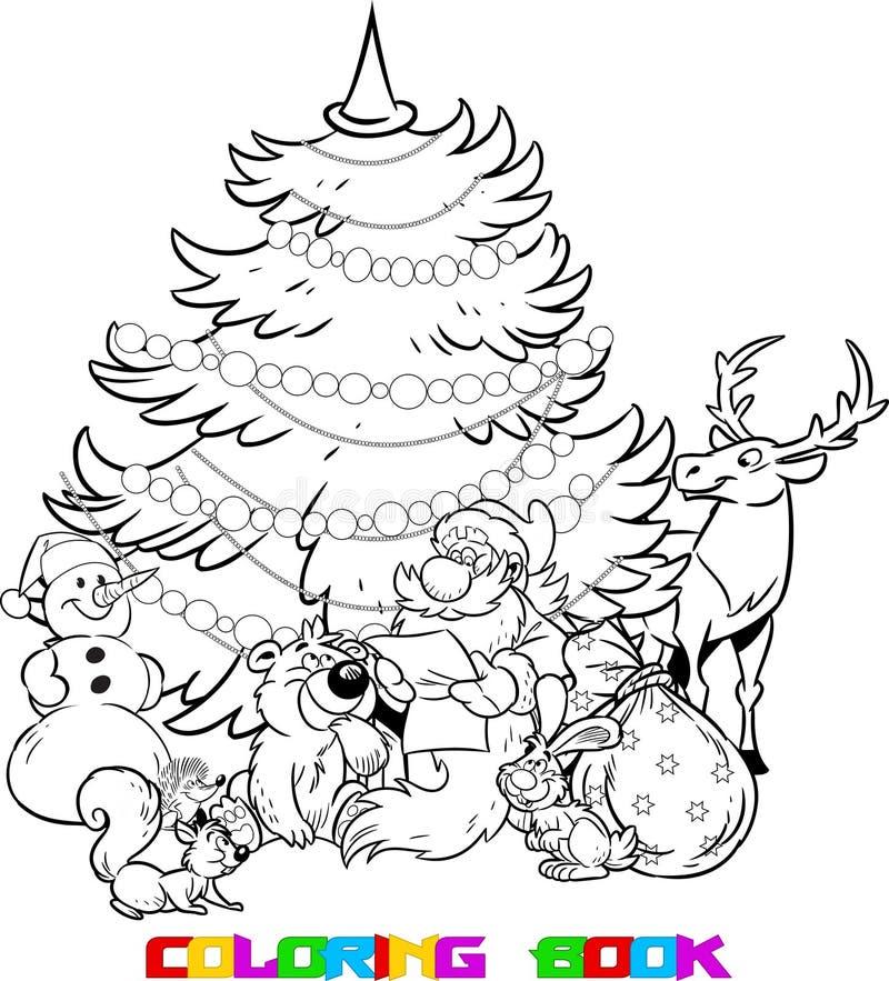 Santa Claus en de dieren van het bos royalty-vrije illustratie