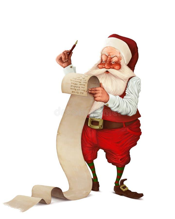 Santa Claus en de lijst royalty-vrije illustratie