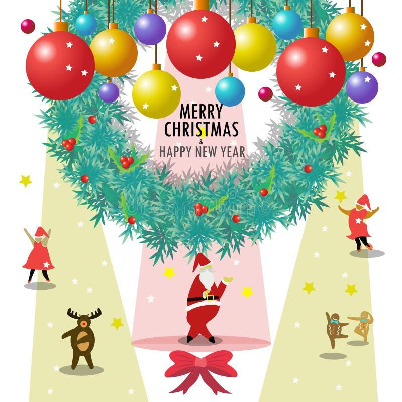 Santa Claus en de vrienden wensen u vrolijke Kerstmis & gelukkig nieuw jaar stock foto