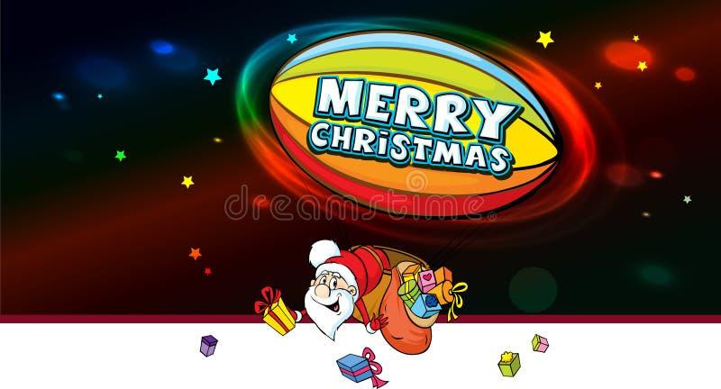 Santa Claus en dirigible por completo de los regalos - vector ilustración del vector
