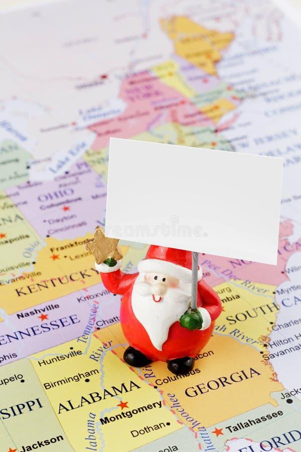 Santa Claus en el mapa de los E.E.U.U. imagen de archivo