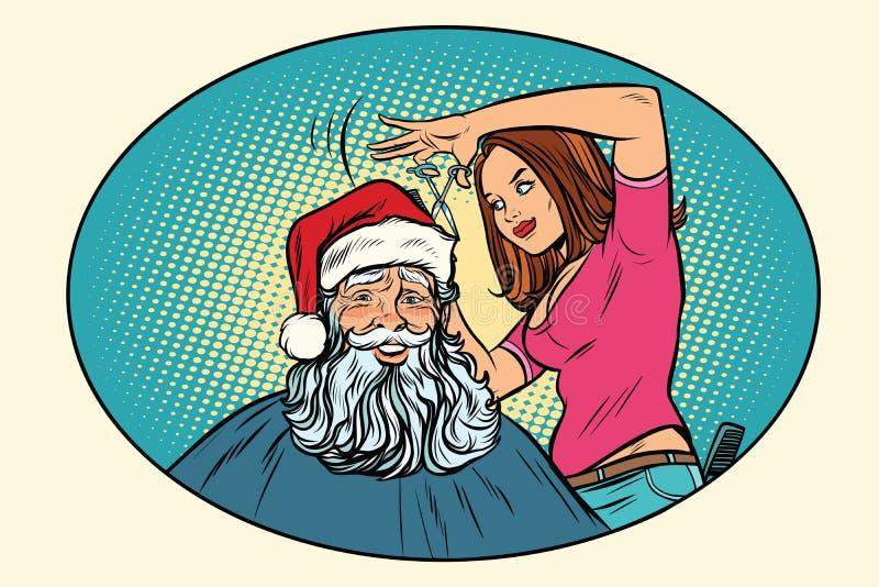 Santa Claus en el peluquero ilustración del vector