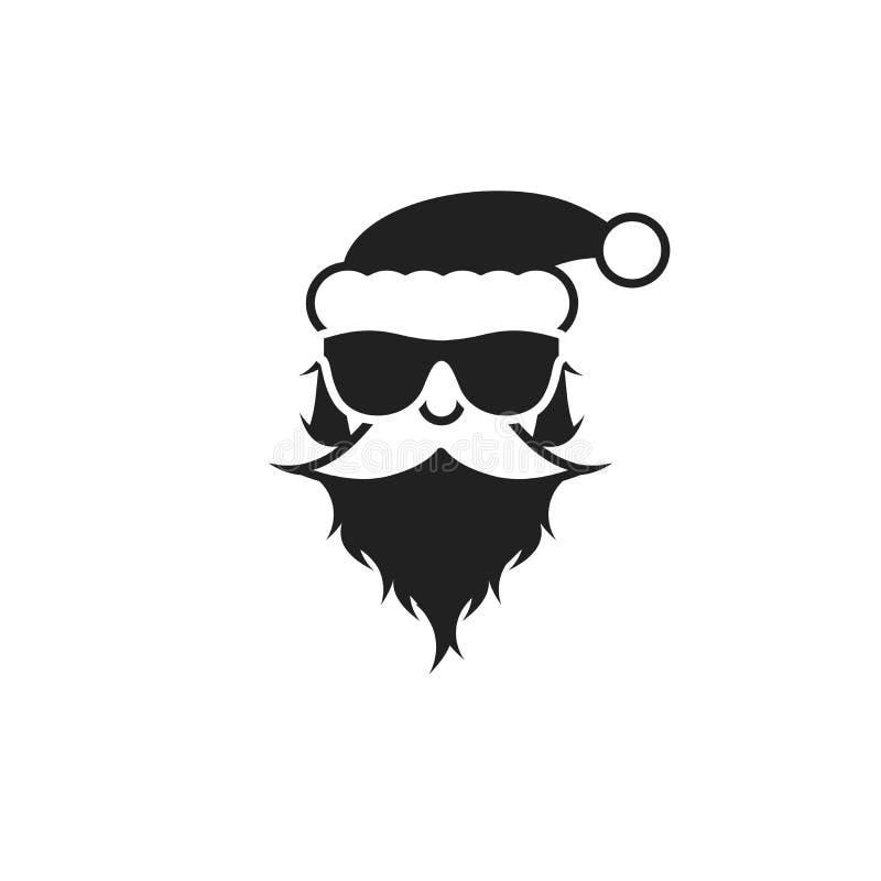Santa Claus en gafas de sol Retrato blanco y negro Ilustraci?n del vector ilustración del vector