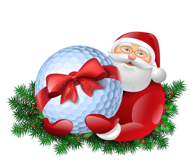 Santa Claus en golfbal vector illustratie