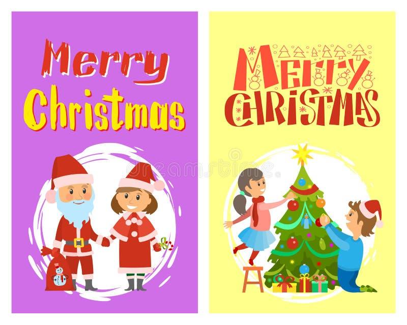 Santa Claus en Helper in Traditionele Kostuums stock illustratie