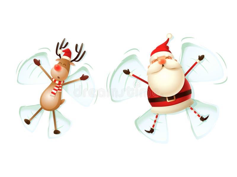 Santa Claus en het Rendier maken engelen in sneeuw vectordieillustratie op witte achtergrond wordt geïsoleerd royalty-vrije illustratie