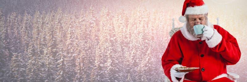 Santa Claus en hiver avec la tasse et la nourriture illustration libre de droits