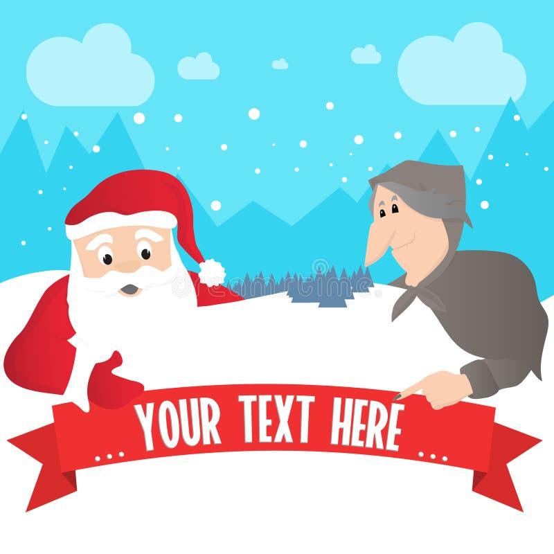Santa Claus en Italiaanse Befana royalty-vrije illustratie