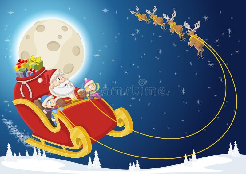 Download Santa Claus En Kinderen Op Ar Vector Illustratie - Illustratie bestaande uit archeologie, beenderen: 54085079