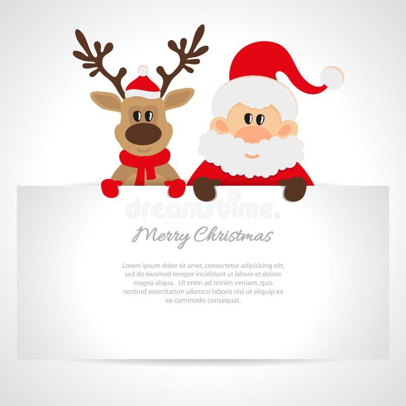 Santa Claus en rendier met een plaats voor tekst royalty-vrije illustratie