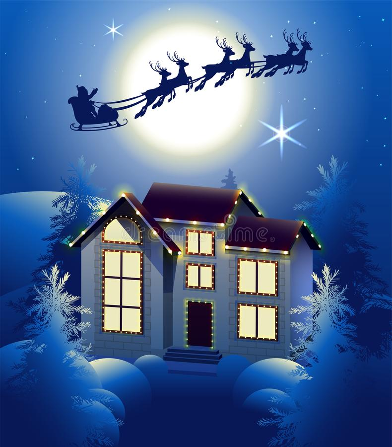 Santa Claus en silueta del reno del trineo en fondo de la Luna Llena en cielo nocturno Iluminación de la casa de la Navidad en bo stock de ilustración