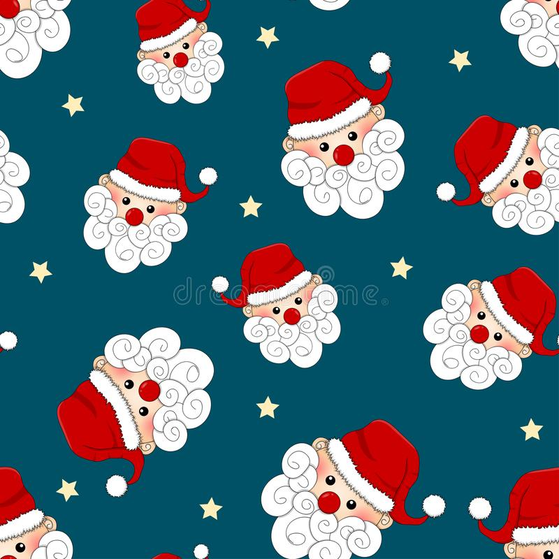 Santa Claus en Ster Naadloos op Blauwe Achtergrond Vector illustratie royalty-vrije illustratie