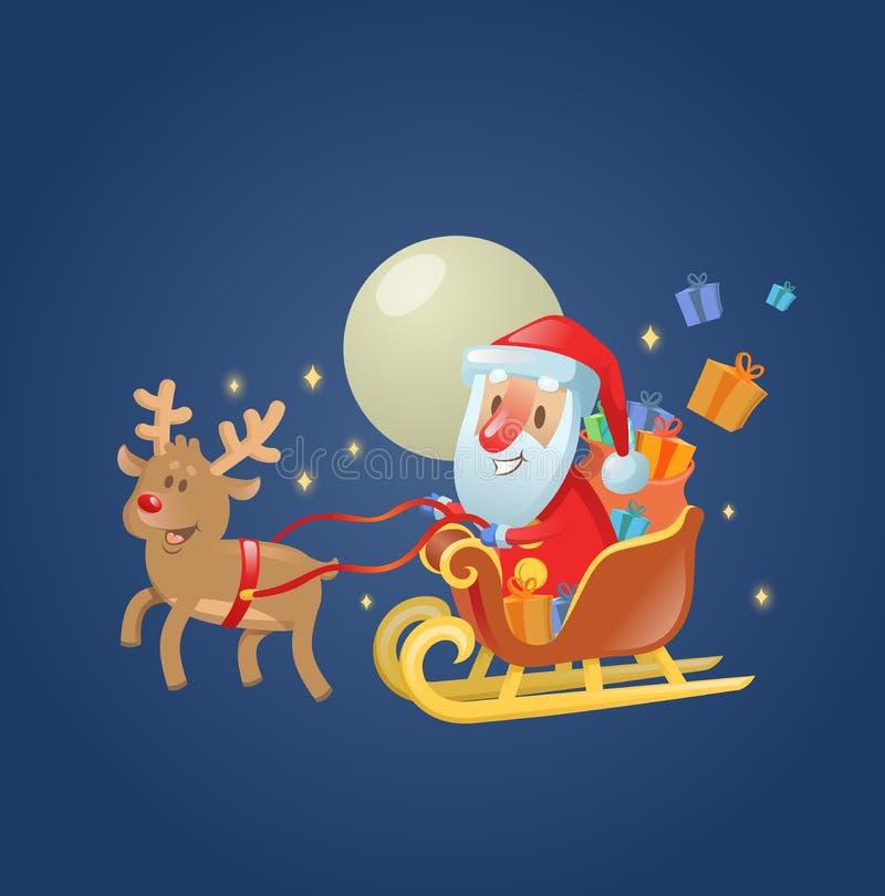 Santa Claus en su trineo del trineo de la Navidad con su reno a través del cielo nocturno iluminado por la luna Ejemplo plano del libre illustration
