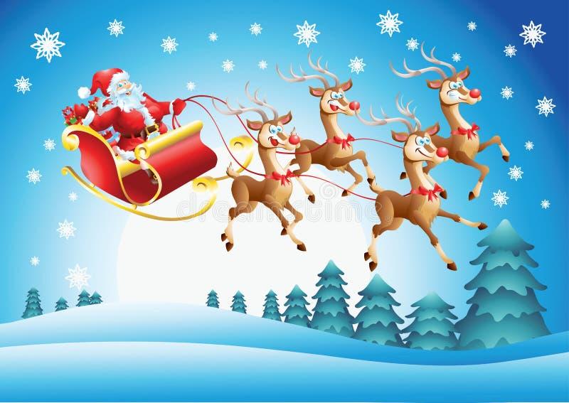 Santa Claus en su vuelo del trineo ilustración del vector