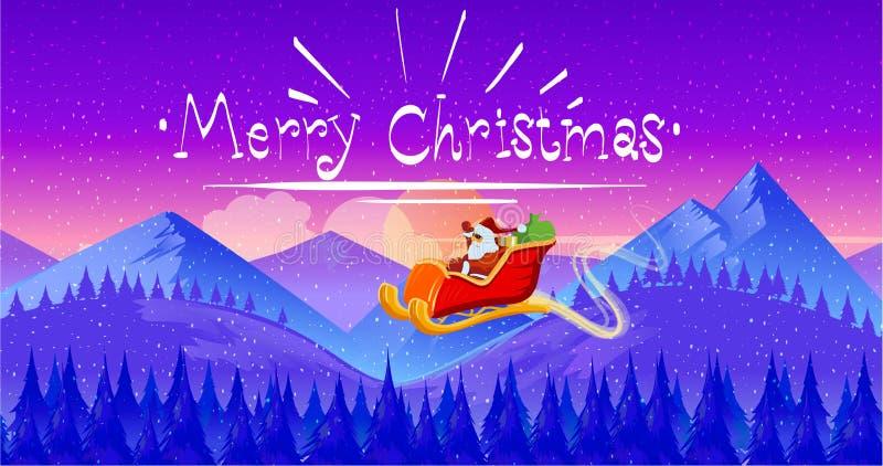 Santa Claus en trineo con el reno en noche de la Navidad nevosa libre illustration
