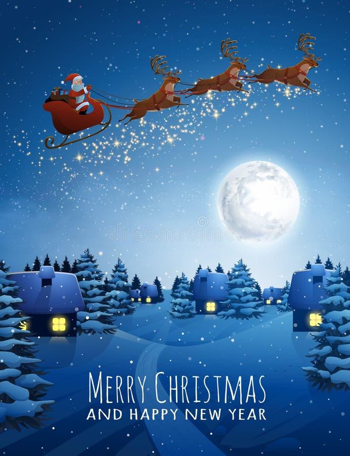 Santa Claus en trineo del vuelo de los ciervos con los renos Árbol de abeto de la nieve del paisaje de la Navidad en la noche y l ilustración del vector