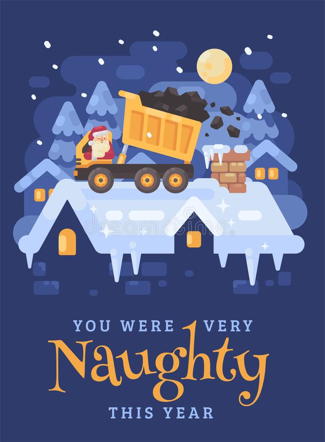 Santa Claus en un camión de volquete amarillo en un tejado que descarga el carbón en la chimenea de un niño muy travieso Tarjeta  libre illustration
