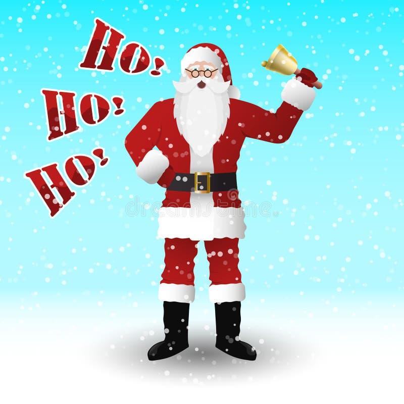 Santa Claus en un traje rojo con una campana Gritos ho ho ho ilustración del vector