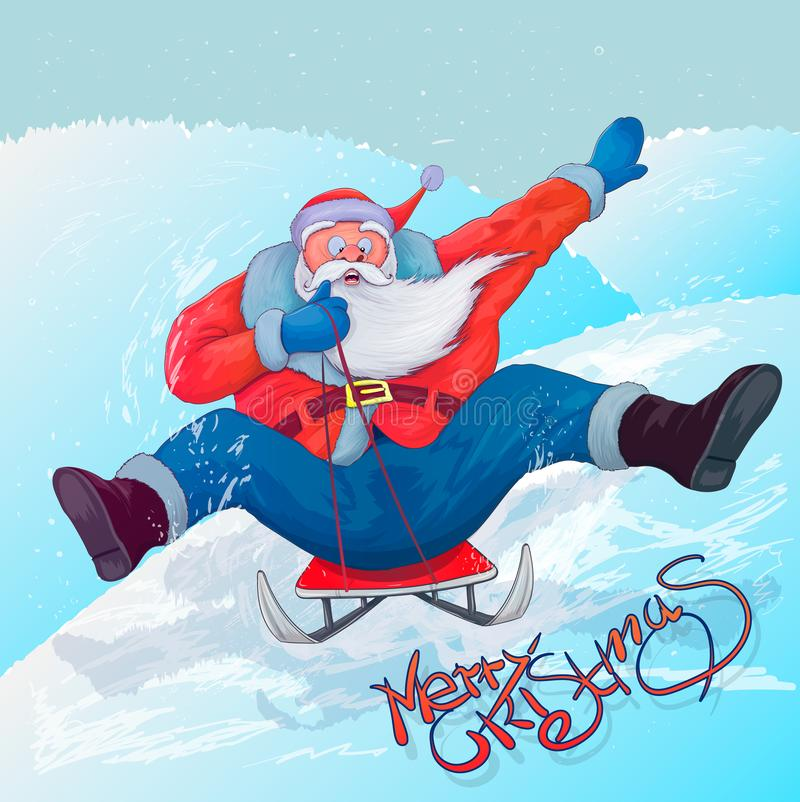 Santa Claus en un trineo ilustración del vector