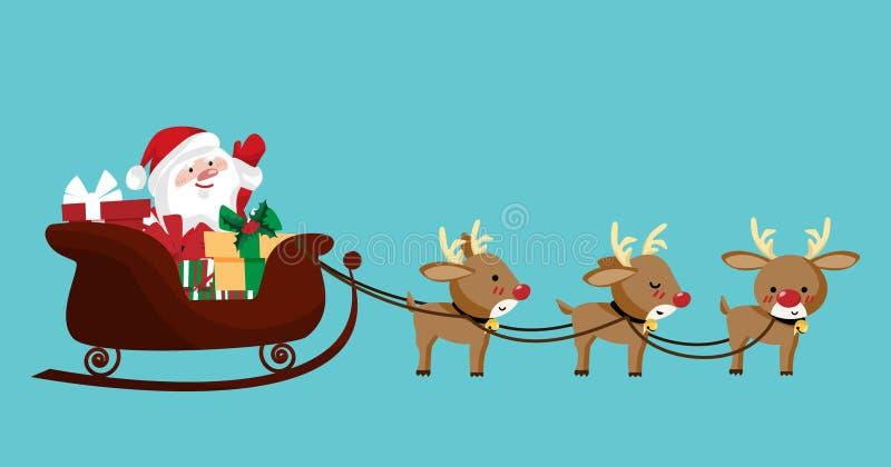 Santa Claus en un trineo con el reno libre illustration