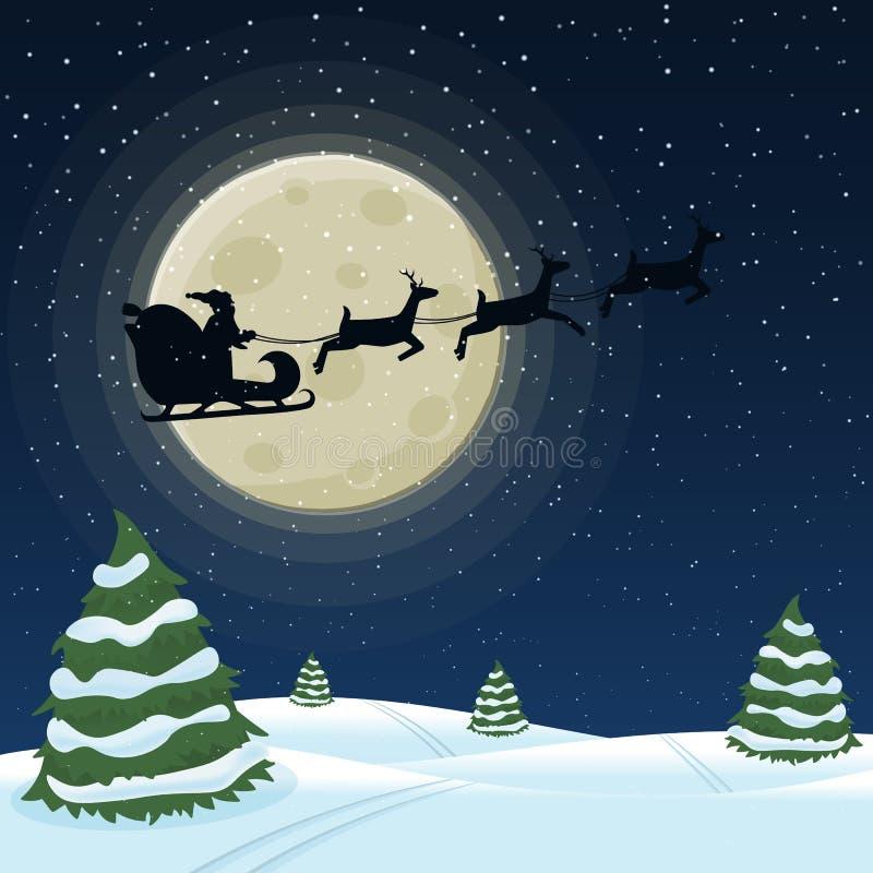 Santa Claus en un trineo con un harnesse del reno libre illustration