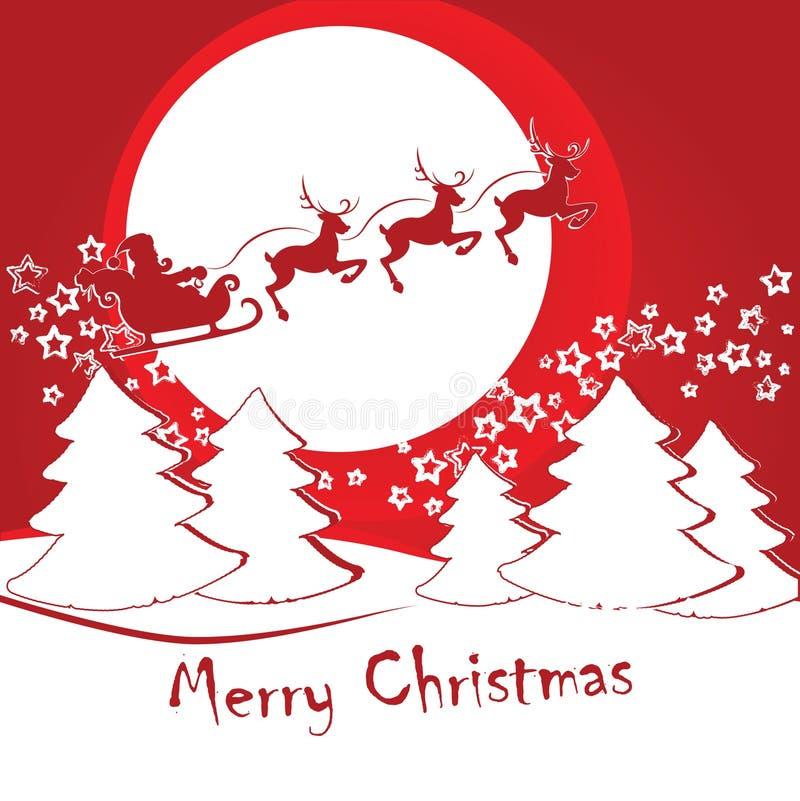 Santa Claus en un trineo con los ciervos monta contra el fondo o libre illustration