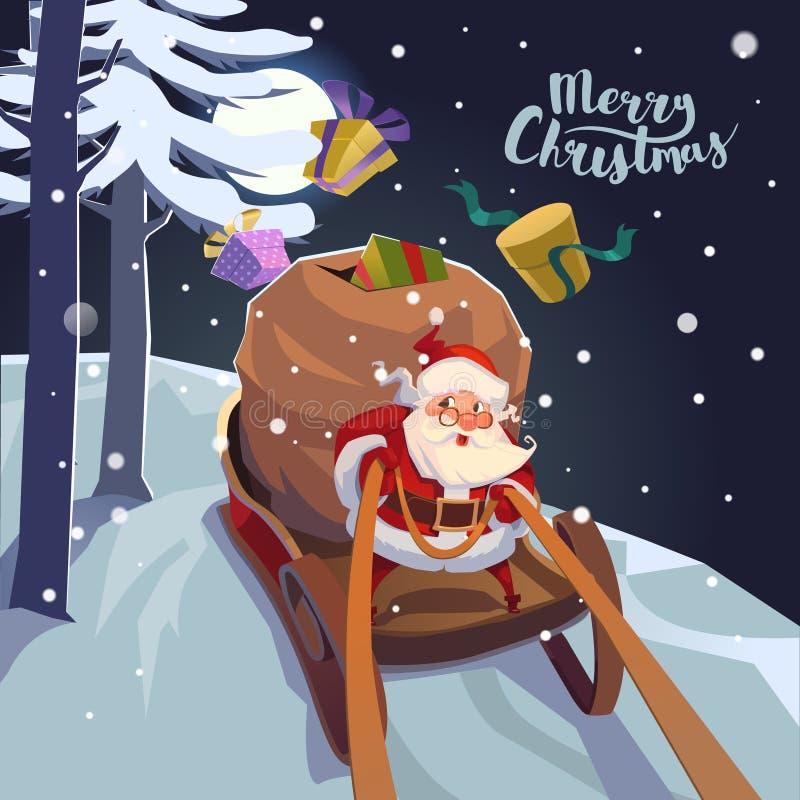Santa Claus en un trineo con los presentes a toda prisa para el día de fiesta Cartel de la tarjeta de felicitación de la Navidad  ilustración del vector
