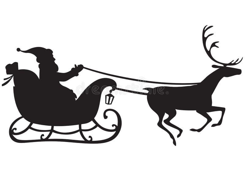Santa Claus en un trineo del reno stock de ilustración