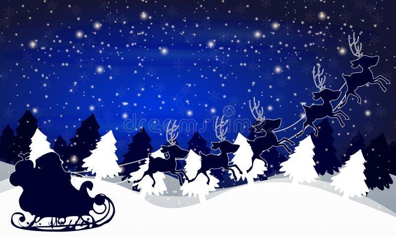 Santa Claus en un trineo en el fondo del landscap del invierno stock de ilustración