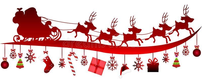 Santa Claus en un trineo y artículos de la Navidad ilustración del vector
