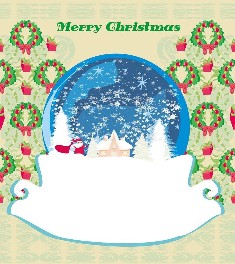 Santa Claus en una bola de cristal, tarjeta de Navidad retra libre illustration