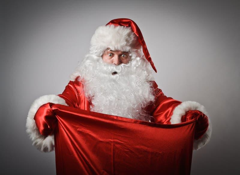 Santa Claus en zak royalty-vrije stock fotografie